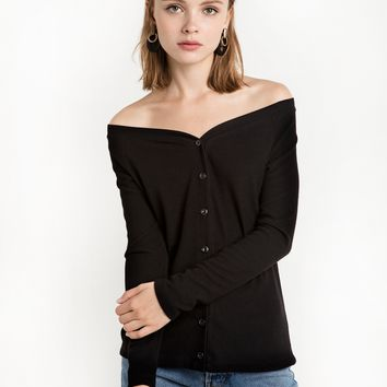 Black Cold Shoulder Cardigan