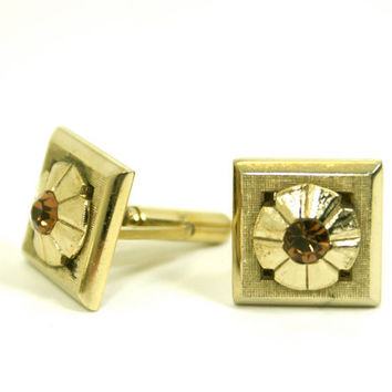 Vintage Square Cufflinks Textured Gold Tone with Round Amber Rhinestone Mid Century Mod