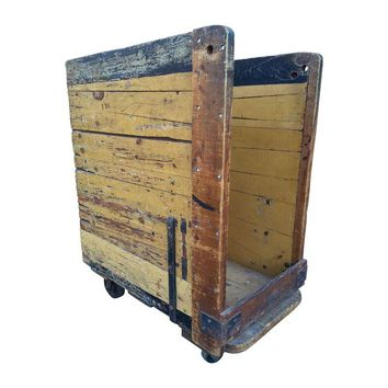Pre-owned Upright Industrial Wooden Factory Cart