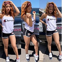 Champion Summer Fashion Woman Casual Print Short Sleeve Top Shorts Set Two Piece orange