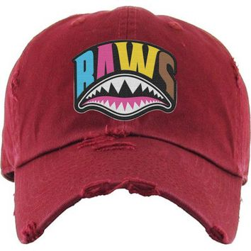 CRAZY SHARK MOUTH Baws Maroon Dad Hat