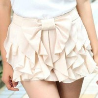 Ruffles Shorts With Bow Tie