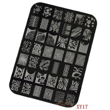 1pcs New Arrival 14.5x10.5cm Polish Lace DIY Design Stamping Plates Painting Drawing Stencil Templates Nail Decorations NAO17