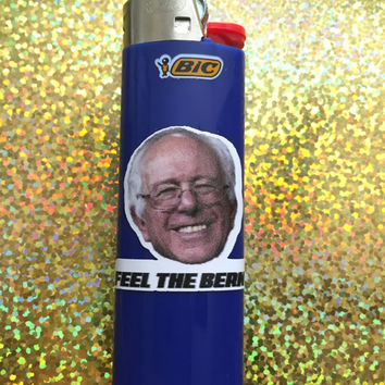 Bernie Sanders Feel The Bern Blue Bic Lighter