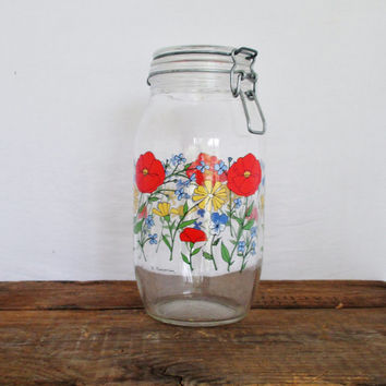 Vintage Glass Canister Vintage Canning Jar by Arc International Floral Glass Kitchen Canister Retro Kitchen Decor Gift