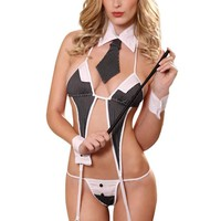 YesX Sexy Lingerie Croupier Gangster Costume Set