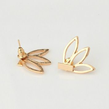 Korean Simple Earrings Brincos Pierced Lotus Statement Earrings