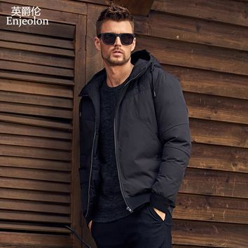 winter Cotton Padded Jacket Men Windproof hooded Parka black printing Thick Quilted Coat