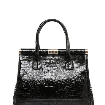 Black Croc Effect Business Bag