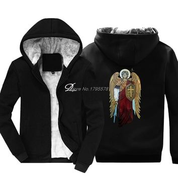 Saint Michael The Archangel Knight Of God Catholic Christian Hoodie Men Thicken Cotton Sweatshirt Hip Hop Jackets Tops