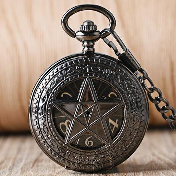 Trendy Mechanical Supernatural  Steampunk Stylish Necklace Pocket Watch Fashion Men Hand Wind Black Pentagram Watches