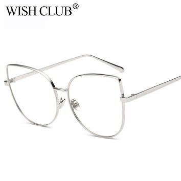 WISH CLUB Oversized Women Metal Full Frame Cat Eye Glasses Frame Brand Designer Men Clear Lens Eyeglasses Transparent gafas