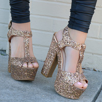 Model Size 8.5 Evening Kiss Bronze Glitter T-Strap Platform Heels