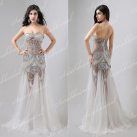New See Through Sexy Crystals Tulle Party Prom Dress Evening Cocktail Gown