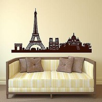 Wall Sticker Vinyl France Paris Eiffel Tower Triumphal Arch Cathedral Unique Gift (n188)