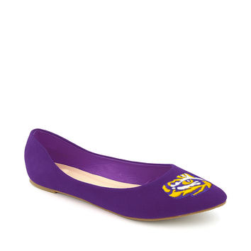 LSU Tigers Pointed Toe Suede Ballet Flats