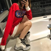 """""""Gucci"""" Women Casual Fashion Embroidery Sequin Multicolor Letter Long Sleeve Sweater Sweater Tops"""