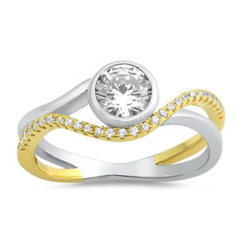 2 Stone Bezel and Pave Twist Sterling Silver Cubic Zirconia Engagement Ring