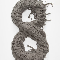 Fringe Infinity Scarf Gray One Size For Women 26393311501