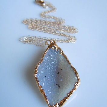 White Druzy Necklace in Gold by 443Jewelry on Etsy