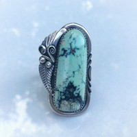 Large Vintage Mint Green Tortoise Turquoise Native American Handmade Ring, Sterling Silver Tortiouse Turquoise Ring, Long Turquoise Ring