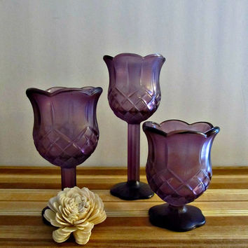 Upcycled Candle Holders - Plum Purple - Set of 3 Graduated Sizes - Rustic, Bohemian Home Decor
