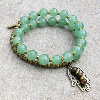 Good Fortune, Genuine Green Aventurine 27 Bead Wrap Mala Bracelet with Hamsa Hand and Tiger's Eye Charm
