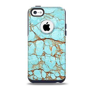 The Cracked Teal Stone Skin for the iPhone 5c OtterBox Commuter Case