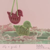 BABY GIRL Rubber Ducky Handcrafted Salt Dough Ornament