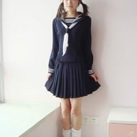 Japanese School Girl Daily Sailor Uniform Cosplay Costume Anime Dress outfit