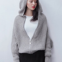 Gray Zip Up Front Batwing Sleeve Chunky Hooded Cardigan