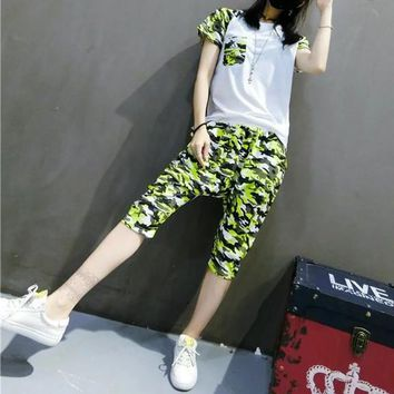 """Adidas"" Women Sport Casual Multicolor Camouflage Print Short Sleeve Set Two-Piece Sportswear"