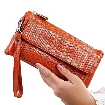 High-quality  Women Wallets Cow Genuine Leather Purse Fashion Alligator Crossbody Bag Long Zipper Handbag  With Phone Holder