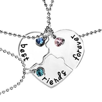 3 Pcs/set Best Friends Forever Choker Pendants Rhinestone Broken Heart Shape Bff Necklace Fashion Friendship Jewelry Collares