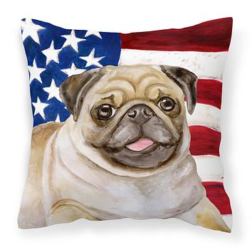 Fawn Pug Patriotic Fabric Decorative Pillow BB9718PW1818