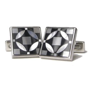 Spanish Square Tile in Black Onyx Hematite and Mother of Pearl Cufflinks-DD-DI220-1-0800
