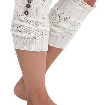 Women's Boot Cuffs Vintage Style 3 button Ivory by Modern Boho