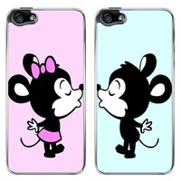 Mouse Kissing Couple Boyfriend Girlfriend Best Friends Snap-On Cover Hard Plastic Case Set for iPhone 5/5S - Set of 2 Cases (Clear)