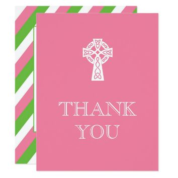 Preppy Celtic Cross Thank You Card - Pink