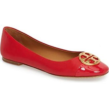 Tory Burch Chelsea Cap Toe Ballet Flat Leather Poppy Orange Red Leather, Size 8