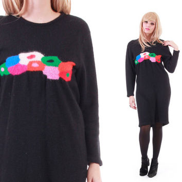 Angora Wool Sweater Dress Long Sleeve Black Colorful Midi Winter Clothing 80s 90s Vintage Womens Size Medium Large