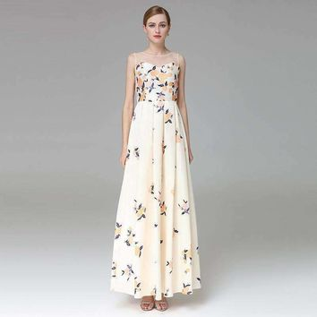 Womens Print Big Swing Long Deep-V-Collar -necks Slim Pleated Maxi Dress