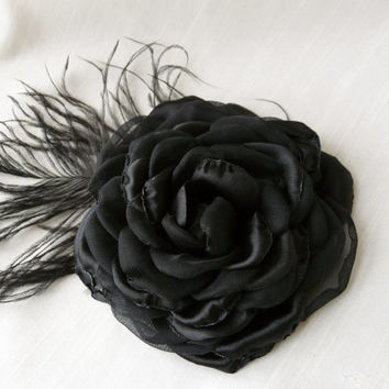 Black Hair Accessory, Black Hair Flower, Black Wedding Accessory, Black Fascinator, Black Hair Clip