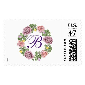 Pretty Pink and Purple Rose Wreath Monogrammed Postage Stamp