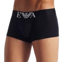 Emporio Armani Men's Cotton Stretch Trunk, Black, Large