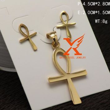 Fashion Stainless Steel Ankh Cross Pendant Earrings Jewelry Sets Egypt Jewelry Pendant Earrings Set