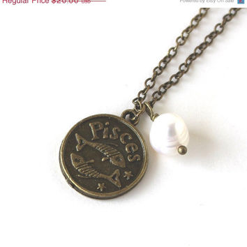 VALENTINES DAY SALE Pisces astrology zodiac star sign charm and white pearl antique bronze necklace