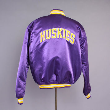 Vintage 80s UW Starter JACKET / 1980s Men's University of Washington Huskies Satin Baseball Jacket