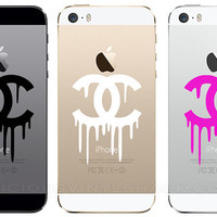 Dripping Chanel Logo Vinyl iPhone 5 5S 5C Car Window MacBook Decal Stickers (Multiple Colors Available) Fashion Beauty