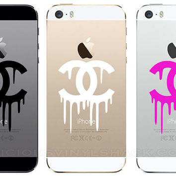 Dripping chanel logo vinyl iphone 5 5s 5c car window macbook dec